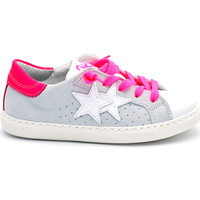 Chaussures Fille Baskets basses 2 Stars SNEAKER FILLE EN CUIR BICOLORE Bianco-Ghiaccio-Fuxia
