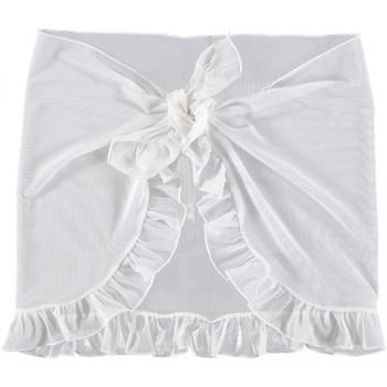 Vêtements Fille Paréos Princesse Ilou Paréo en tulle uni à volant Blanc