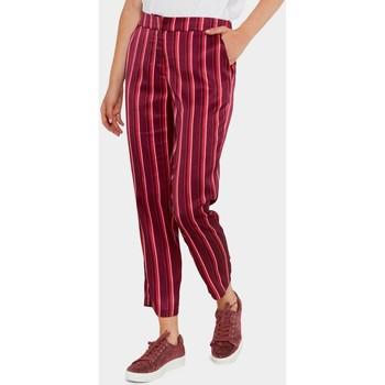 Vêtements Femme Pantalons fluides / Sarouels Kebello Pantalon ample à rayures F Rouge Rouge