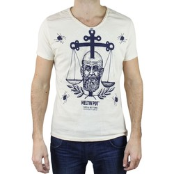 Vêtements Homme T-shirts manches courtes Kebello T-Shirt avec print Taille : H Blanc S Blanc