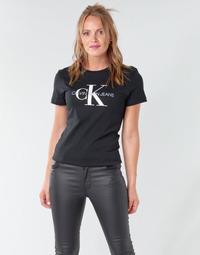 Vêtements Femme T-shirts manches courtes Calvin Klein Jeans CORE MONOGRAM LOGO REG FIT Noir