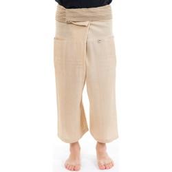 Vêtements Femme Pantalons fluides / Sarouels Fantazia Pantacourt fisherman Thai Creme