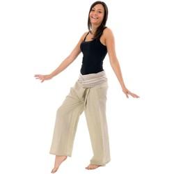 Vêtements Femme Chinos / Carrots Fantazia Pantalon Fisherman 100% coton epais + 10 couleurs Creme rayures bleues