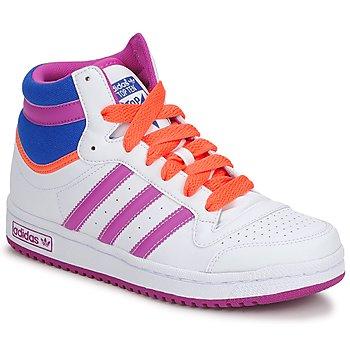 Chaussures Fille Baskets montantes adidas Originals TOPTEN HI K Blanc / Rose / Bleu