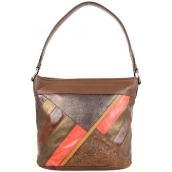 Sacs Femme Sacs porté épaule Patrick Blanc Sac seau patchwork cuir  marron M Marron