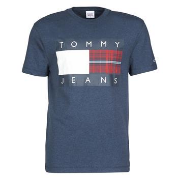 Vêtements Homme T-shirts manches courtes Tommy Jeans TJM PLAID CENTRE FLAG TEE Marine