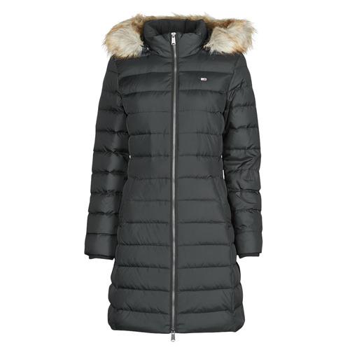 Vêtements Femme Doudounes Tommy Jeans TJW ESSENTIAL HOODED DOWN COAT Noir