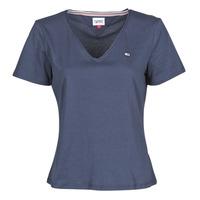 Vêtements Femme T-shirts manches courtes Tommy Jeans TJW SLIM JERSEY V NECK Marine