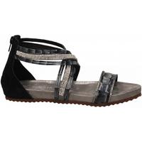 Chaussures Femme Sandales et Nu-pieds Café Noir SANDALO LISTINI INCROCIATI STRASS 226-multinero