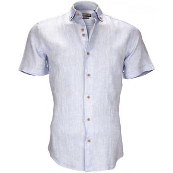 Vêtements Homme Chemises manches courtes Emporio Balzani chemisette en lin san siro bleu Bleu