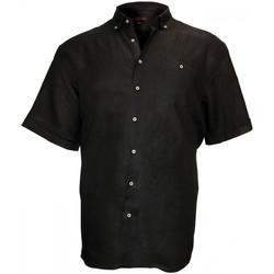 Vêtements Homme Chemises manches courtes Doublissimo chemisette en lin monte carlo noir Noir