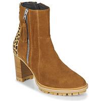 Chaussures Femme Bottines Philippe Morvan LOKS V1 VELOURS CAMEL/LEOP Marron / Léopard