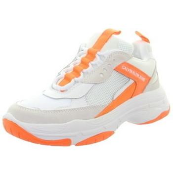 Chaussures Femme Baskets basses Calvin Klein Jeans Baskets  ref_49021 Blanc Blanc et orangeHauteur tige
