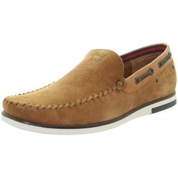 Chaussures Homme Mocassins Wrangler Mocassins en cuir  ref_49008 Rouille Marron
