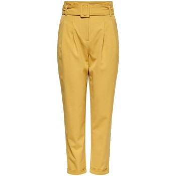 Vêtements Femme Chinos / Carrots Only ONLSICA HW PAPERBAG PANT jaune