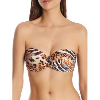 Vêtements Femme Maillots de bain séparables Selmark Haut maillot de bain bandeau Animal  Mare Marron
