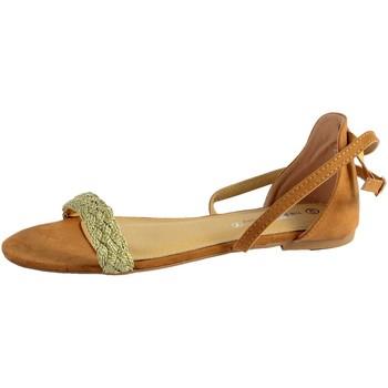 Chaussures Femme Sandales et Nu-pieds The Divine Factory Sandale Plate Camel