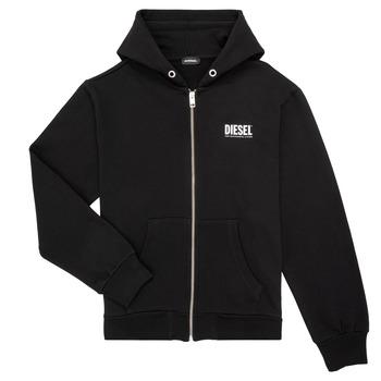 Vêtements Garçon Sweats Diesel SGIRKHOODZIP LOGO Noir
