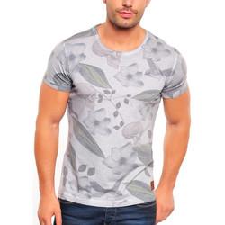 Vêtements Homme T-shirts manches courtes Monsieurmode T-shirt homme fleurie T-shirt 3012 gris Gris