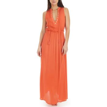Vêtements Femme Robes longues Selmark Robe longue estivale sans manches  Mare Corail