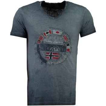 Vêtements Homme T-shirts manches courtes Geographical Norway Tshirt Homme Jimpeach Bleu