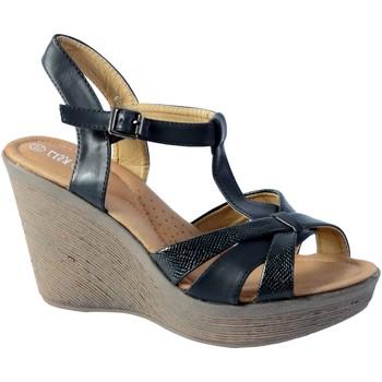 Chaussures Femme Sandales et Nu-pieds The Divine Factory Sandales Compenseée Noir