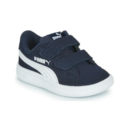 Chaussures Enfant Baskets basses Puma SMASH INF Marine / Blanc