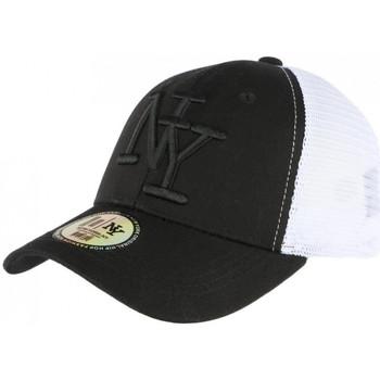Accessoires textile Casquettes Hip Hop Honour Casquette Filet NY Noire et Blanche Baseball Trucker Gybz Noir