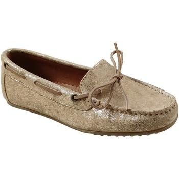 Chaussures Femme Mocassins Moc's 19j084 Beige/or cuir