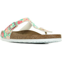 Chaussures Femme Tongs Birkenstock Gizeh Bs Sfb Flowers blanc