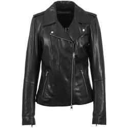 Vêtements Femme Vestes en cuir / synthétiques Oakwood Blouson style perfecto  Camille en cuir ref Noir