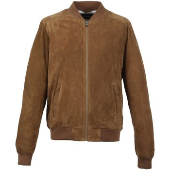 Vêtements Homme Blousons Oakwood Bombers en cuir Robbie  ref_48666 Cognac Marron