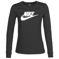 Vêtements Femme T-shirts manches longues Nike W NSW TEE ESSNTL LS ICON FTR Noir
