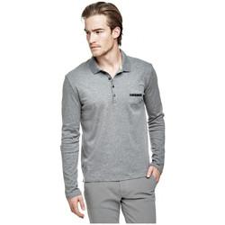 Vêtements Homme Polos manches longues Guess Polo Homme Rufo LS Gris M64P21 (rft)