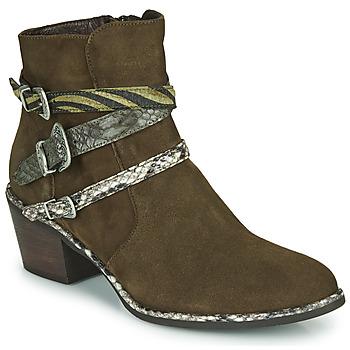 Chaussures Femme Bottines Regard NAPOLI V3 VELOURS MILITARE Kaki