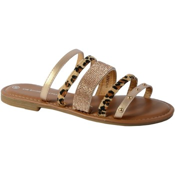 Chaussures Femme Sandales et Nu-pieds The Divine Factory Sandale Mule HX3955 Or Léopard