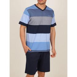 Vêtements Homme Pyjamas / Chemises de nuit Admas For Men Tenue d'intérieur pyjama short t-shirt Stay Stripes bleu Admas Bleu