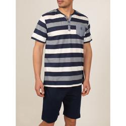 Vêtements Homme Pyjamas / Chemises de nuit Admas For Men Tenue d'intérieur pyjama short t-shirt Greece bleu Admas Bleu