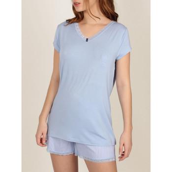 Vêtements Femme Pyjamas / Chemises de nuit Admas Pyjama short t-shirt Fresh And Soft Bleu