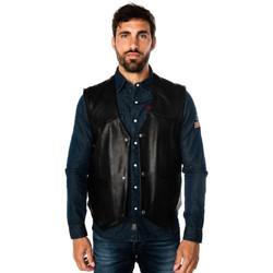 Vêtements Homme Vestes en cuir / synthétiques Daytona CAFE VEST GOAT DEER BLACK Noir