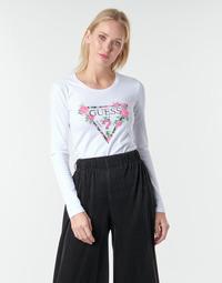 Vêtements Femme T-shirts manches longues Guess LS CN VILMA TEE Blanc