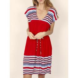 Vêtements Femme Robes courtes Admas Robe estivale manches courtes Elegant Stripes rouge Rouge