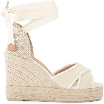 Chaussures Femme Espadrilles Castaner Sandale avec semelle compensée Bluma en toile de coton Blanc