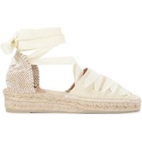 Chaussures Femme Espadrilles Castaner Sandale avec semelle compensèe Gina en toile de coton Blanc