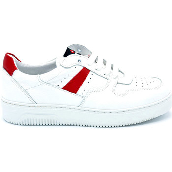 Chaussures Homme Baskets basses Exton SNEAKER HOMME EN CUIR Bianco-Rosso