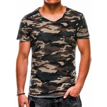 Vêtements Homme T-shirts manches courtes Monsieurmode T-shirt homme camouflage T-shirt 1050 vert Vert