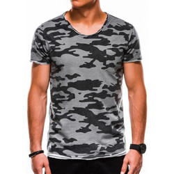 Vêtements Homme T-shirts manches courtes Monsieurmode T-shirt camouflage homme T-shirt 1050 gris Gris