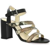 Chaussures Femme Sandales et Nu-pieds Pao Nu pieds cuir serpent Noir