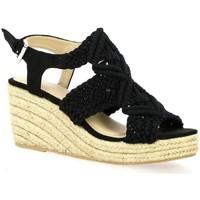 Chaussures Femme Espadrilles Cassis Côte d'Azur Nu pieds toile Noir