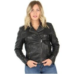 Vêtements Femme Blousons Daytona Blouson Rose Garden style perfecto en cuir ref_47826 Noir noir